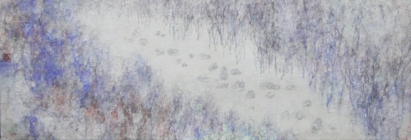 黃郁筑_無序˙重複III_墨,炭,水性顏料,礦物顏料,麻紙_25x73cm_2020