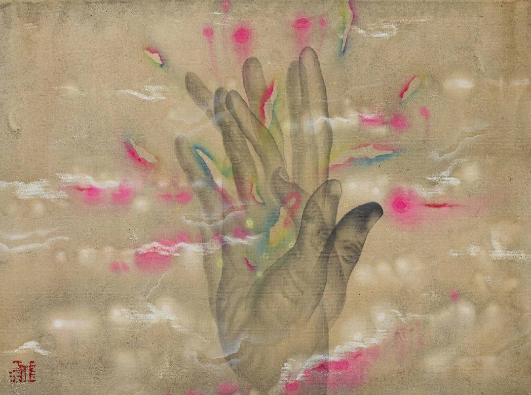 劉信義 Liu Hsin Yi / 觸摸光韻 Feeling the Aura   水墨絹本設色 Colored ink on Silk   28x22cm  2020