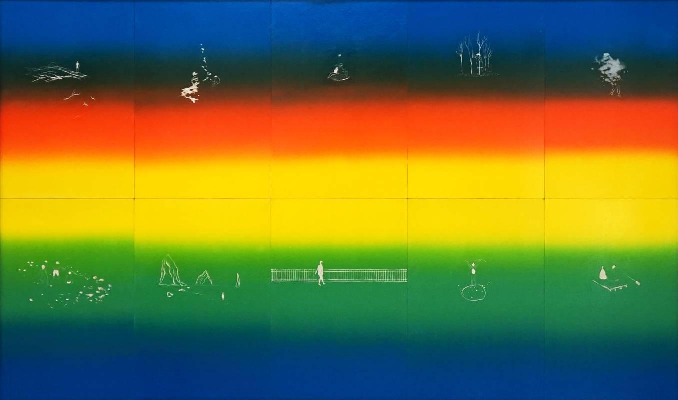 游雅蘭,色彩計畫,2019,油墨、色粉、椴木合板,90x150cm