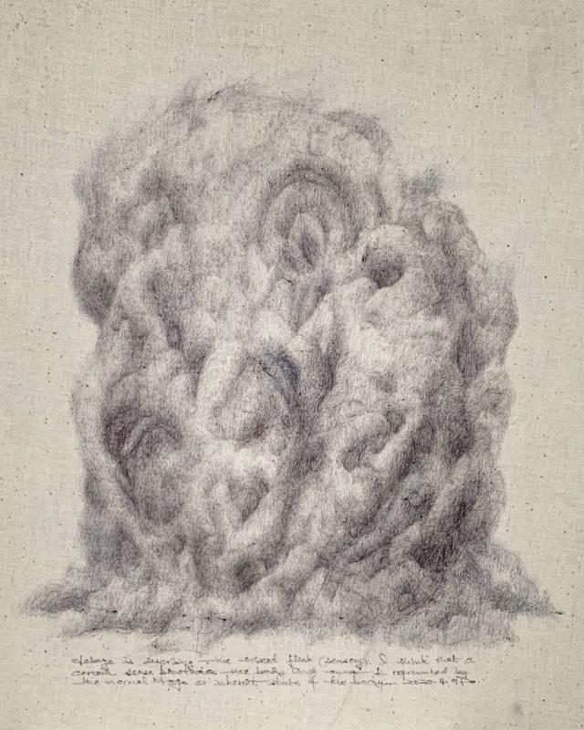 《遺梗》,27 x 22 cm,低碳油筆、德國油墨、布料,2020