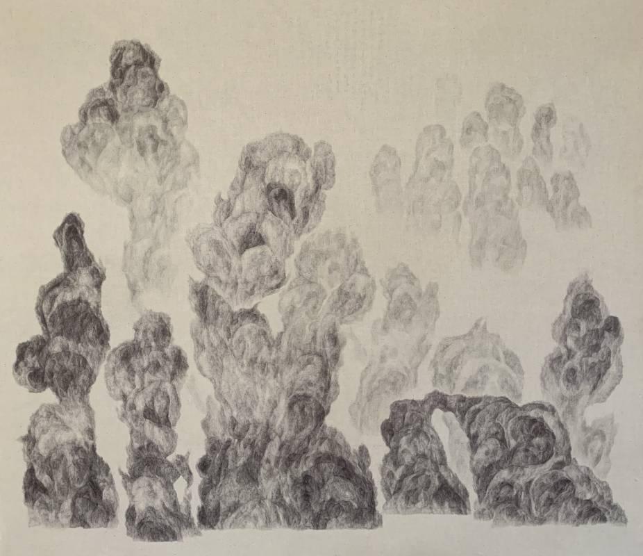 《非雲:高雄煙》,60 x 120 cm,低碳油筆、德國油墨、鉛筆、布料,2020