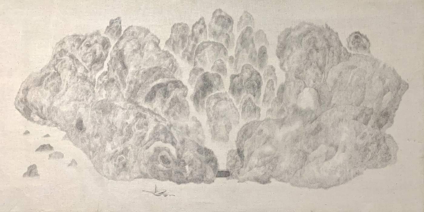 《向Arnold Bocklin 致敬》,50 x 100 cm,鉛筆、布料、木板,2020