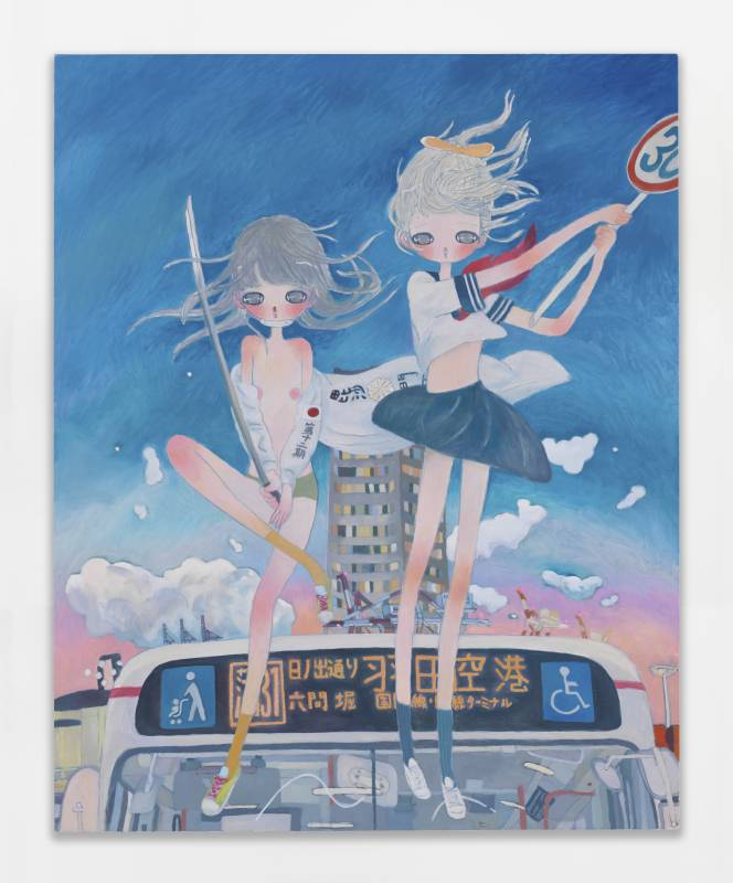 Aya Takano let's go, to the battle, 2020 Oil on canvas 162 x 130 cm | 63 3/4 x 51 3/16 in ©2020 Aya Takano/Kaikai Kiki Co., Ltd. All Rights Reserved. Courtesy Perrotin