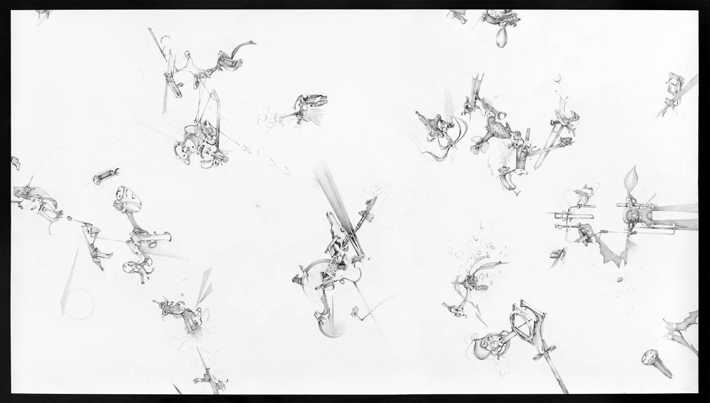 《未曾來過》,複合媒材裝置,繪畫(局部),2020(王郁媜提供)