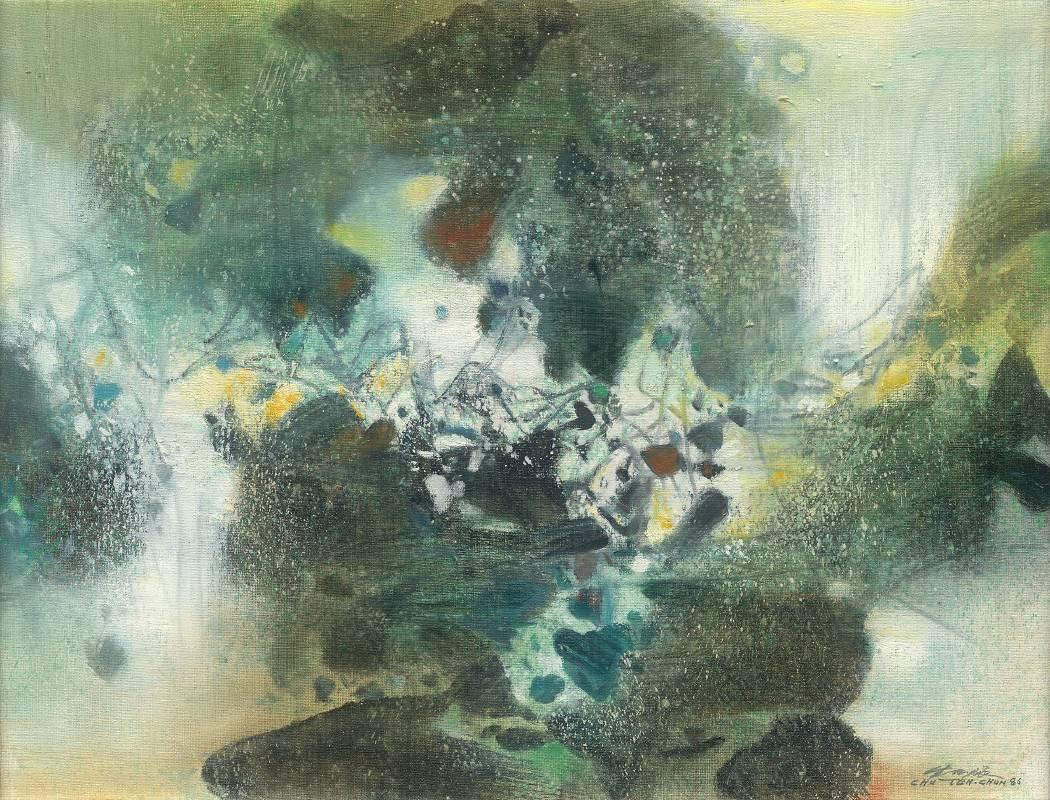 朱德群|雪幕 50×65cm 油彩畫布 1986