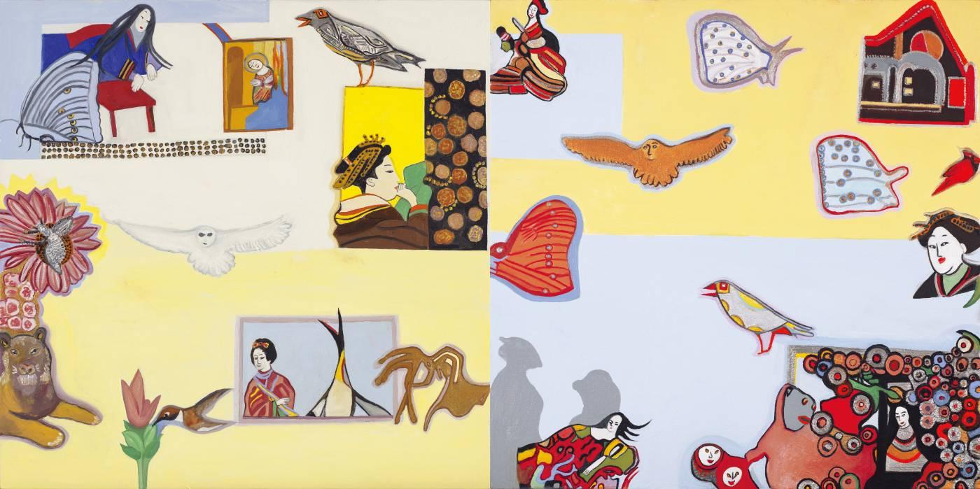 朱禮銀,蝶之頌,〈2020〉,油彩、麻布,76.2 X 152.4 cm