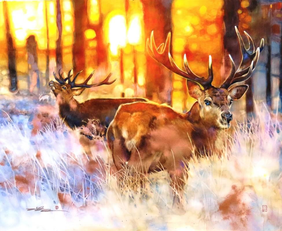 《朝鹿》複合媒材 140x112cm 2020