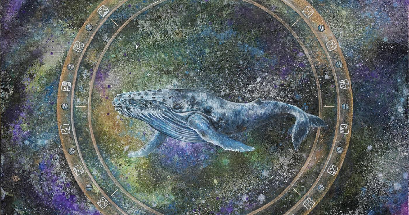 蔡沛珊在畫面正中描繪了一隻座頭鯨在海中自在洄游的模樣。觀者或會心生猶如置身船艙,透過圓窗向外凝神張望的奇特感受,並為這彷彿擁有一對翅膀的海中巨獸所深深吸引,聆聽牠在無邊的靜默中唱出對大自然的禮讚。