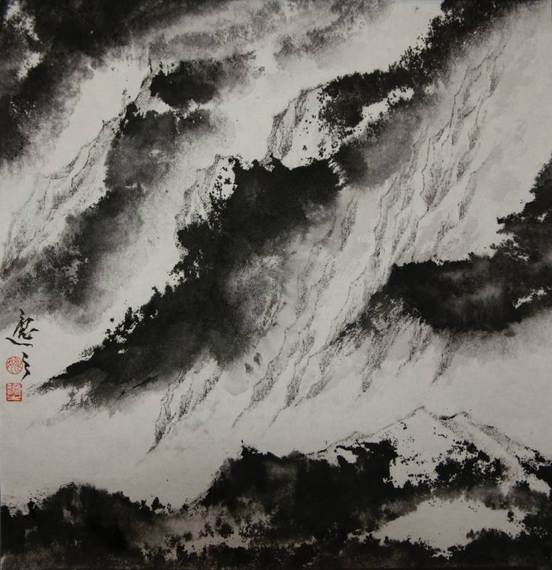 姚逸之, 石門雲霞 Rosy Clouds, 37 x 36 cm, 水墨紙本 Ink on Paper, 2018