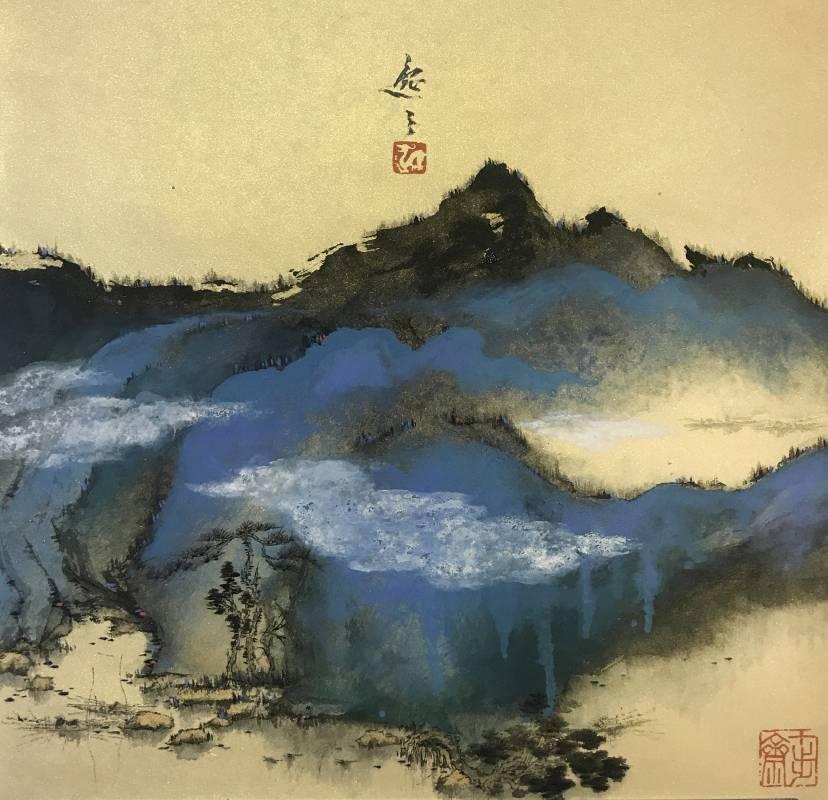 姚逸之, 江南秋韻 Jiangnan Charming Autumn, 36 x 36 cm, Ink and Color on Gold-Dusted Paper水墨設色金籤紙本, 2018