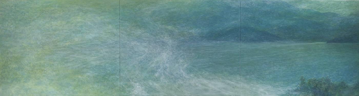 林煒翔《煙波》 2020 油彩、畫布 130 x 487 cm。圖/安卓藝術提供