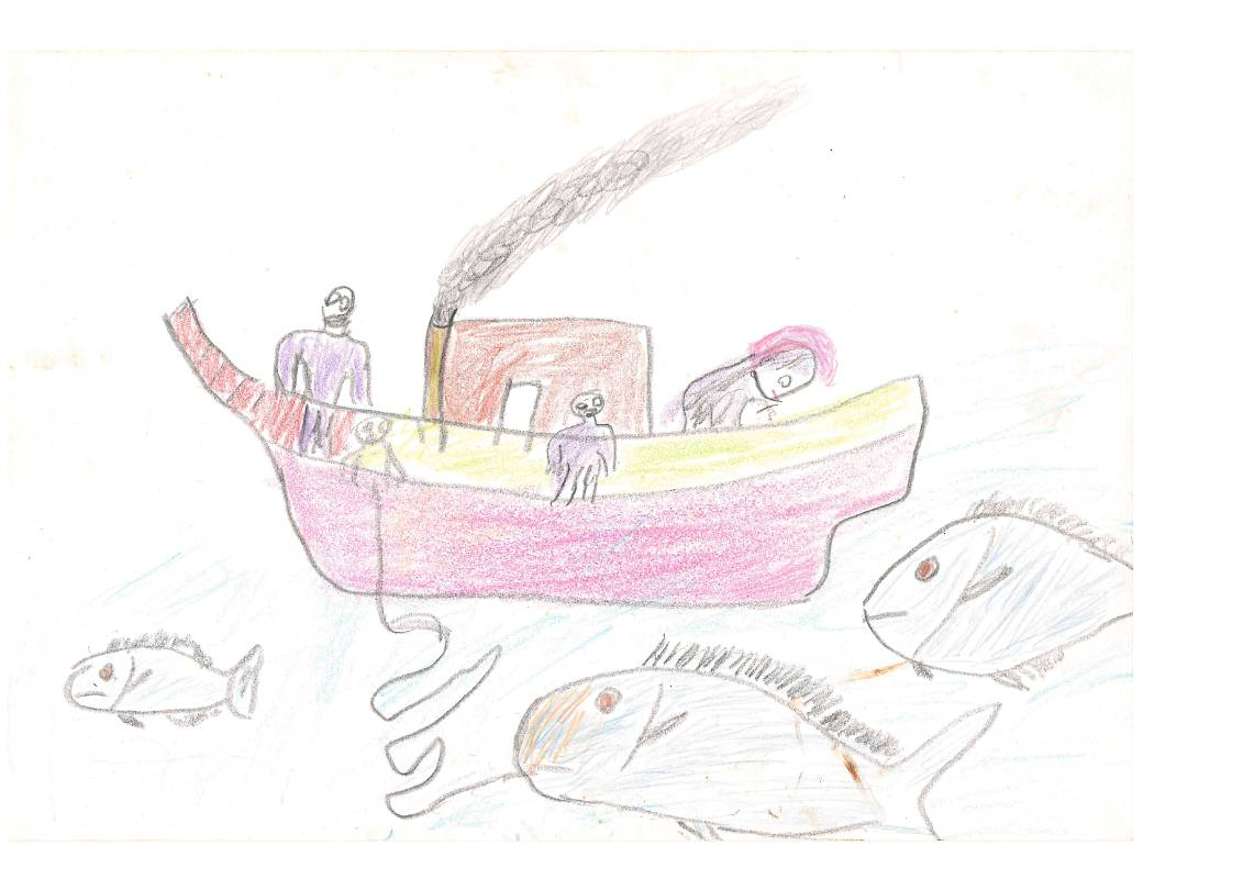瑪拉歐斯,《我與阿嬤的畫》,蠟筆。圖/台北當代藝術館提供