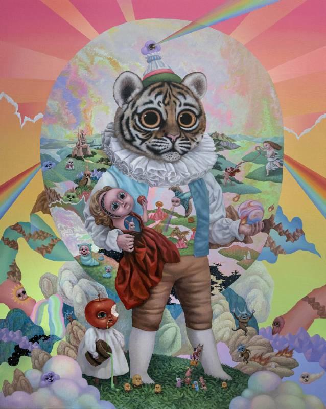 老虎雅子的修行時光Tiger Masako's Spiritual Practice_162x130cm_壓克力、畫布Acrylic on canvas_2020