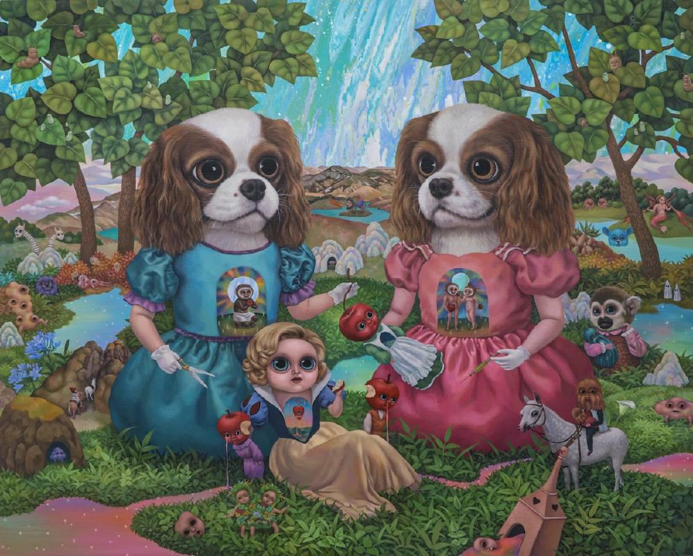 雙胞胎的秘密茶會The Twins' Secret Tea Party_130x162cm_壓克力、畫布Acrylic on canvas_2019