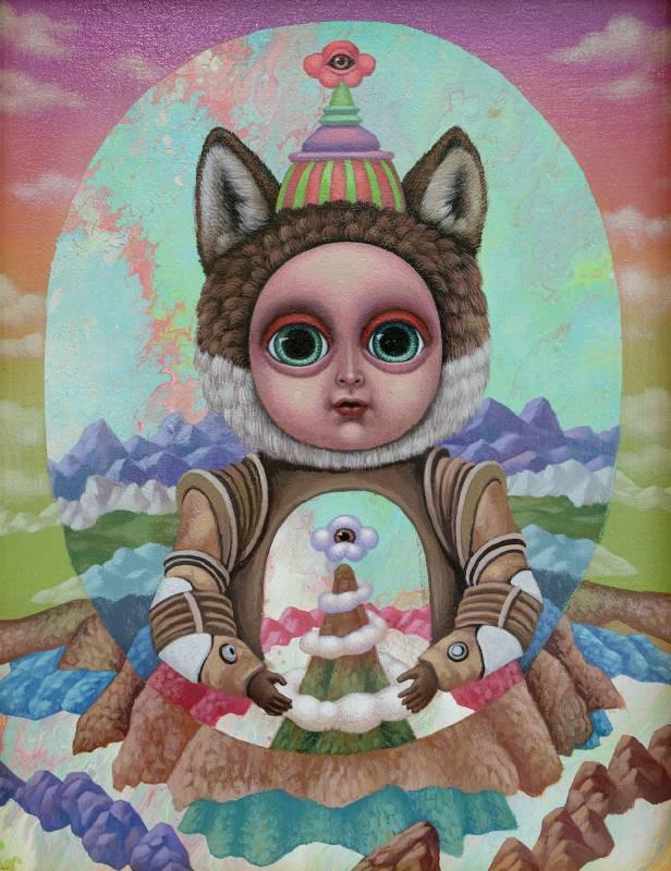 聖像:穿著鎧甲的狼少女Icon Wolf Girl in Armor_27x22cm_壓克力、畫布Acrylic on canvas_2020