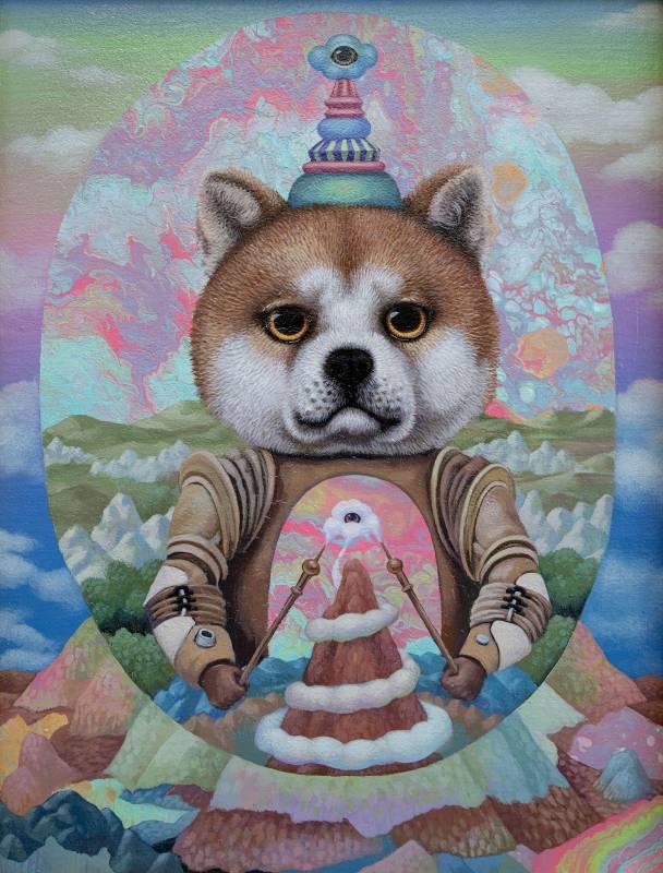 聖像:穿著鎧甲的柴犬Icon Shiba Inu in Armor_27x22cm_壓克力、畫布Acrylic on canvas_2020