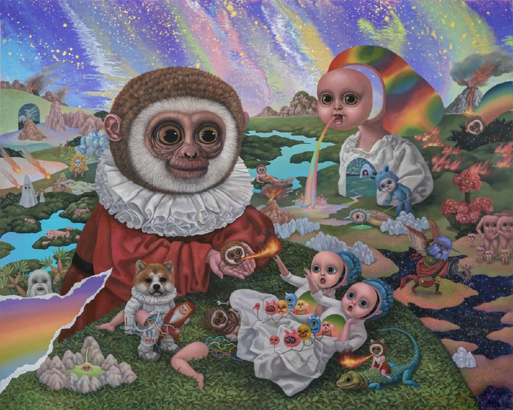 Dr. Monkey的秘密實驗Dr. Monkey's Secret Experiment_130x162cm_壓克力、畫布Acrylic on canvas_2018