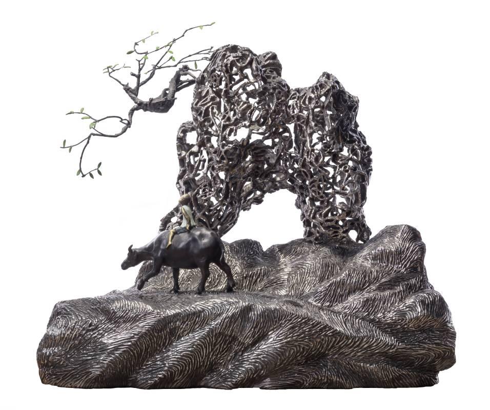 牧笛  2019 青銅、不鏽鋼 70×68×43cm
