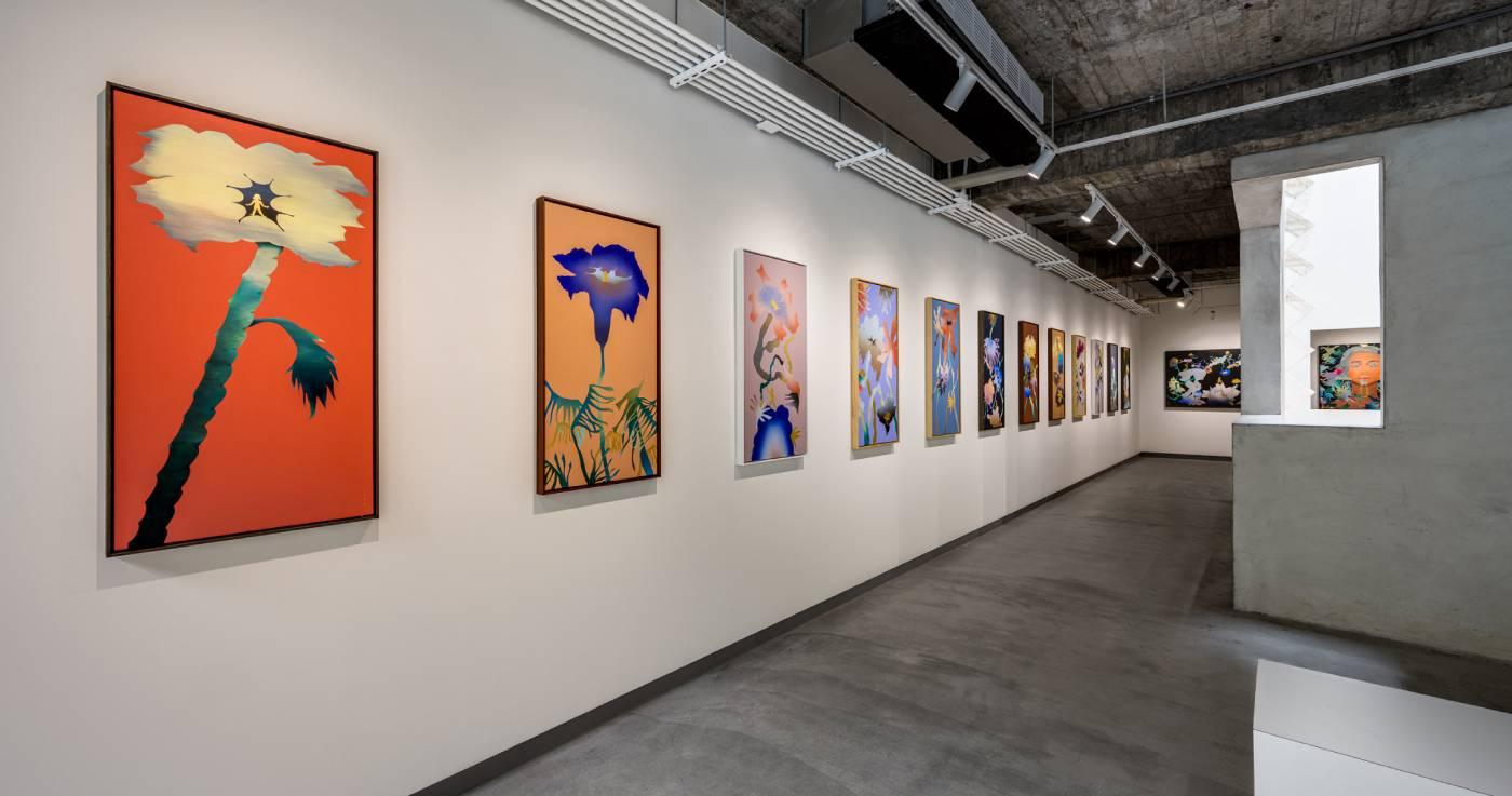 「幻室」展場一隅。橫向排開的十二件花卉作品是此系列難得的呈現。藝術家以二十四節氣的意象為每件作品命名,透過繪畫勾勒一個永恆少年的微觀世界。