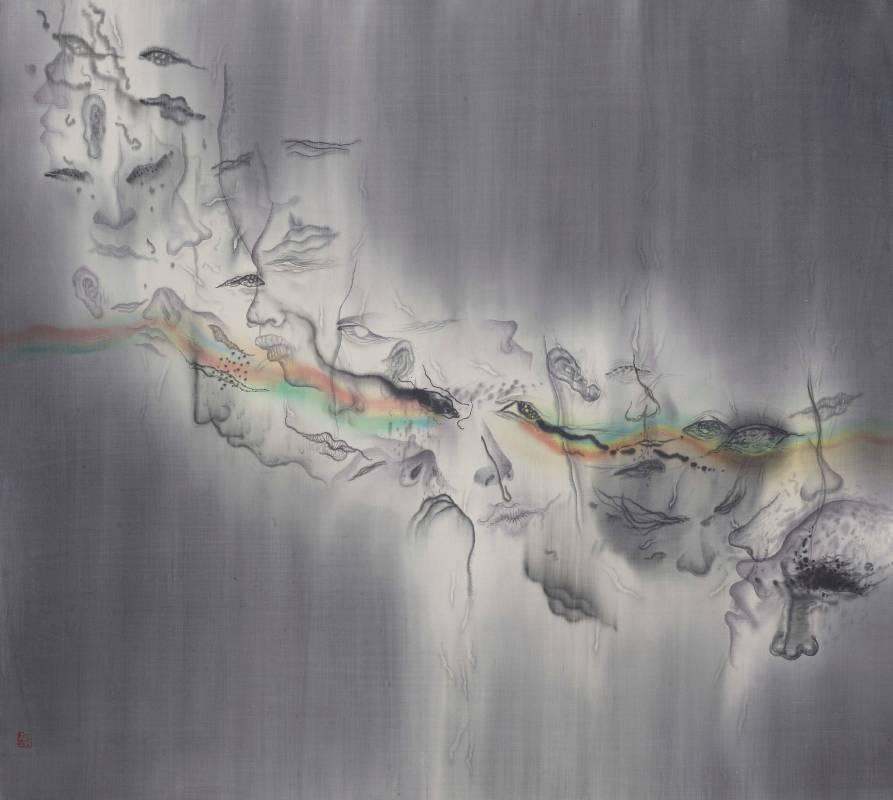 劉信義Liu Hsin Yi / 多重的灰色 Multiple grays 水墨絹本設色 Colored ink on silk 108x119 cm 2020