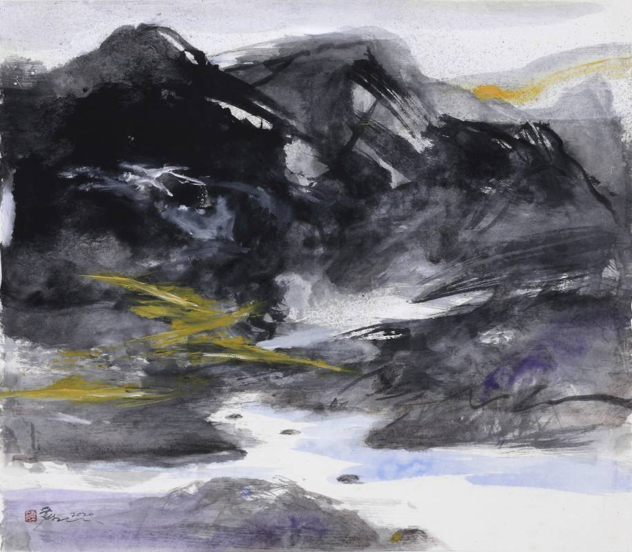 塵三 Chen San / 湘川 Xiang River  複合媒材  Mixed melida  78x78 cm  2020