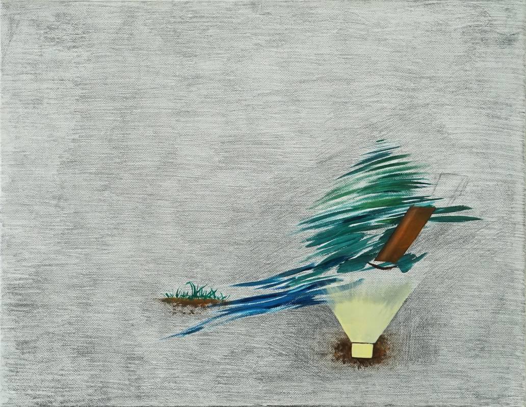 馬俐安《休憩一》,35×27 cm,油彩、鉛筆、畫布,2020