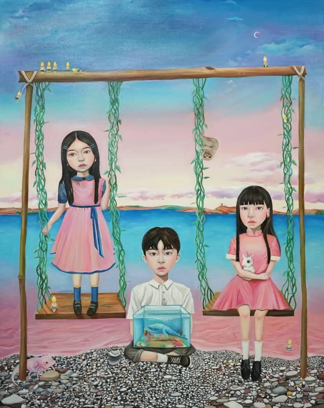 曾義晴《鞦韆、海之外》,116.5×91 cm,油彩、畫布,2019