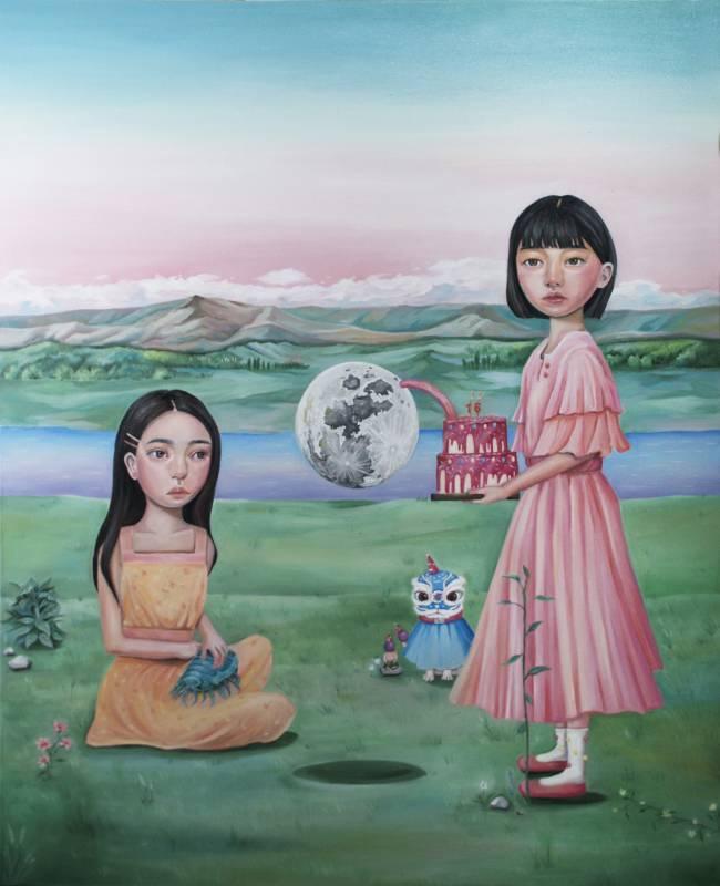 曾義晴《Moon》,100×80 cm,油彩、畫布,2019