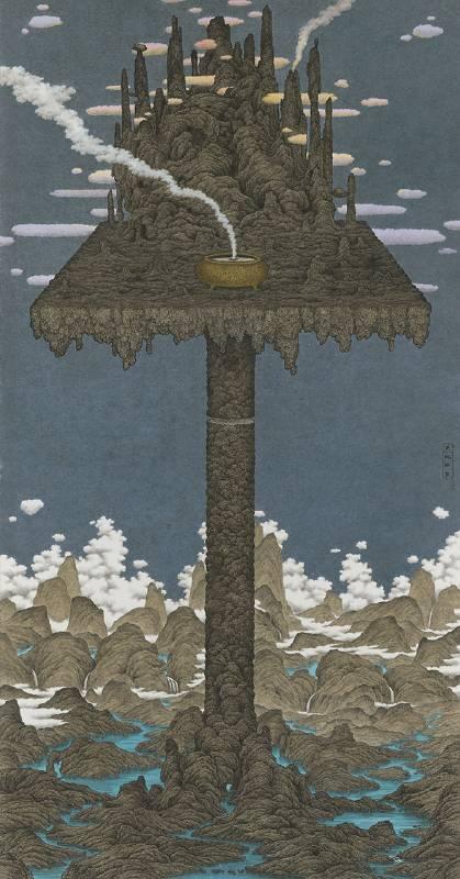 鄧卜君 TENG Pu-Chun_天地供桌 Altar of Heaven and Earth_239x126cm_紙上水墨Ink On Paper_2020