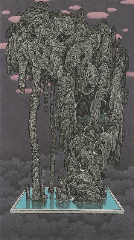 鄧卜君 TENG Pu-Chun_止水岩 Water-ending Rock_89x50cm_紙上水墨Ink On Paper_2019