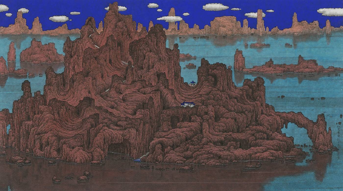 鄧卜君 TENG Pu-Chun_紅岩青雲Red Rock under a Cobalt Sky_50x89cm_紙上水墨Ink On Paper_2020