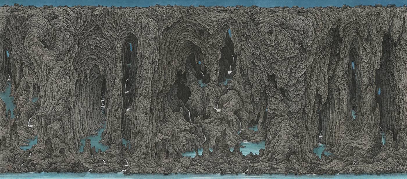 鄧卜君 TENG Pu-Chun_群澗潺聲Babbling Brooks_95.5x217cm_紙上水墨Ink on Paper_2019