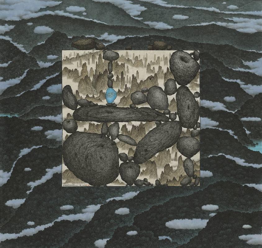 鄧卜君 TENG Pu-Chun_有海藍宝的石窗 Stone Window with an Aquamarine_119x126cm_紙上水墨Ink On Paper_2020