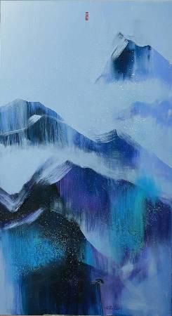 陳歡,《山在虛無飄緲間》,100x180cm,油畫,2020。