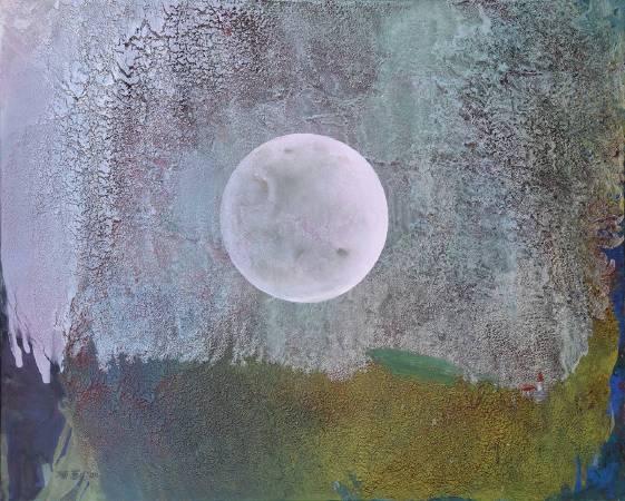 陳歡,《合歡觀月》,100x72.5cm,油畫,2020。