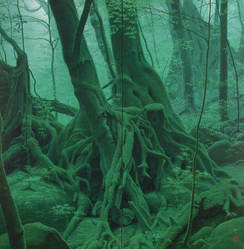 綠樹|2011|礦物顏料於日本紙上_屏風|162x160cm