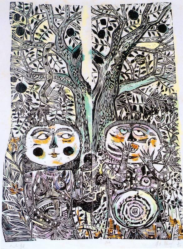 江漢東 人之初 1964年 46x61cm 木刻版畫