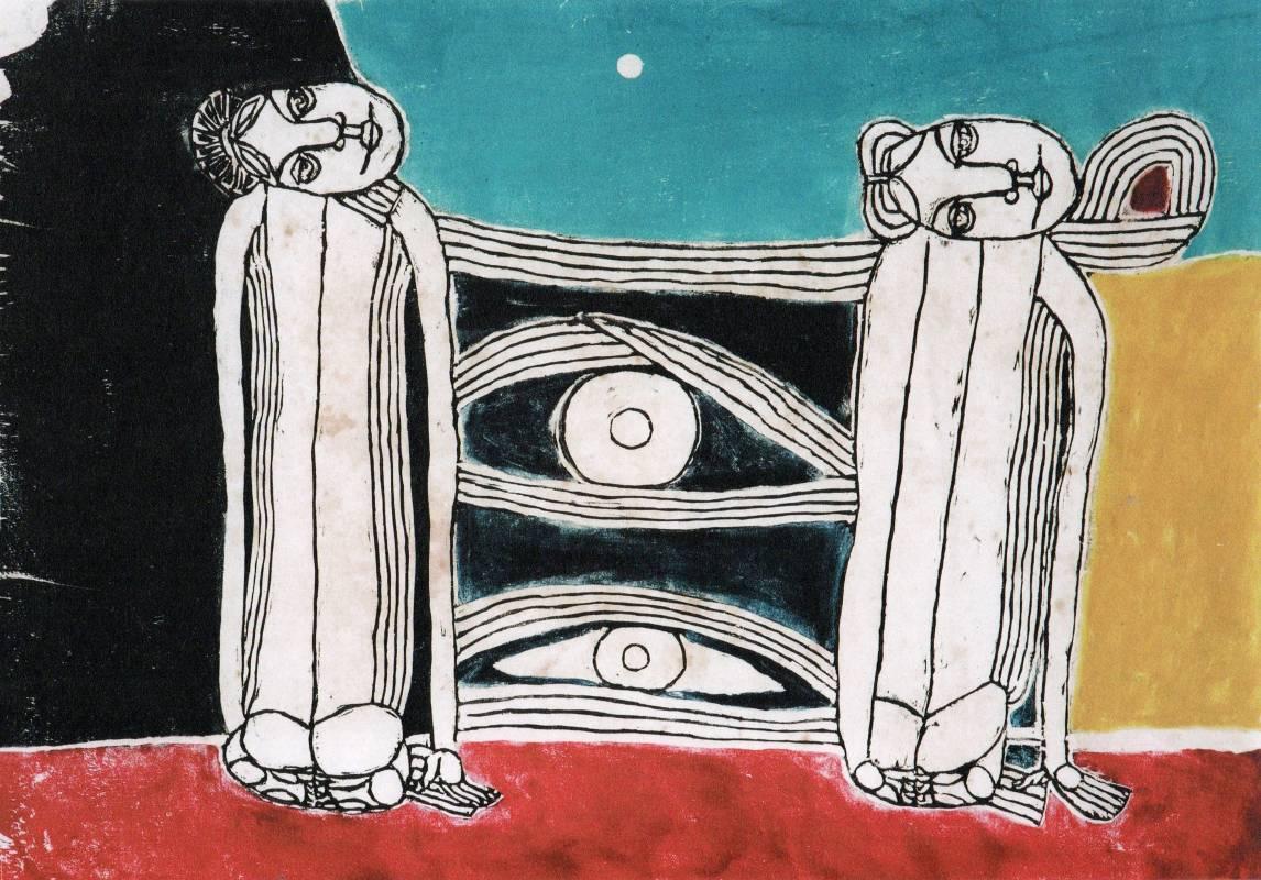 江漢東 月光 1985年 41×54cm 木刻版畫