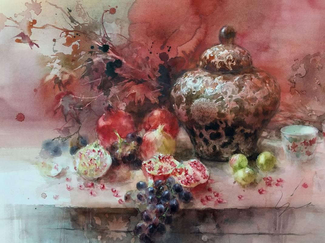 藝術家:永山裕子 標題:紅色果實尺寸:46.5 * 61 cm 年代:2020    材質:水彩/紙