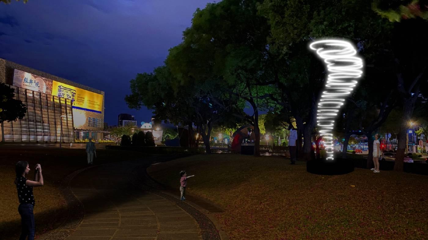 有用主張,〈龍捲風〉,2021。複合媒材,2 x 2 x 5.5公尺。藝術家提供。UxU Studio, The Wild Collection – Tornado, 2021. Mixed Media. 2 x 2 x 5.5 m. Courtesy of the artist.