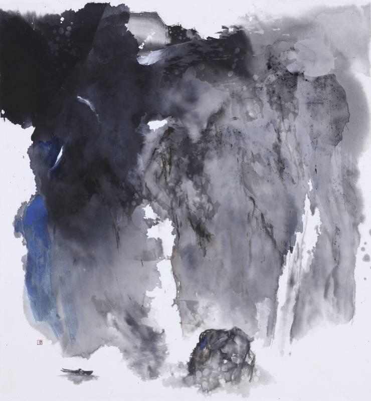 塵三 Chen San  / 寂巖流遠Solitude Mountain 水墨絹本設色 Colored ink on paper  88x83 cm  2020