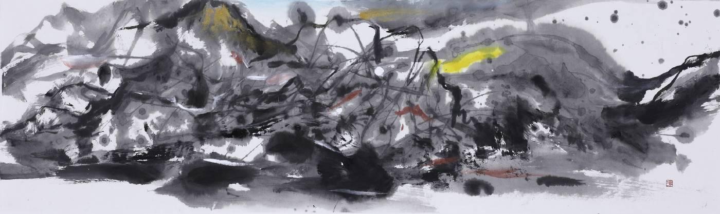 塵三 Chen San  / 幻影 Apparition 水墨絹本設色 Colored ink on paper  39x116 cm  2020