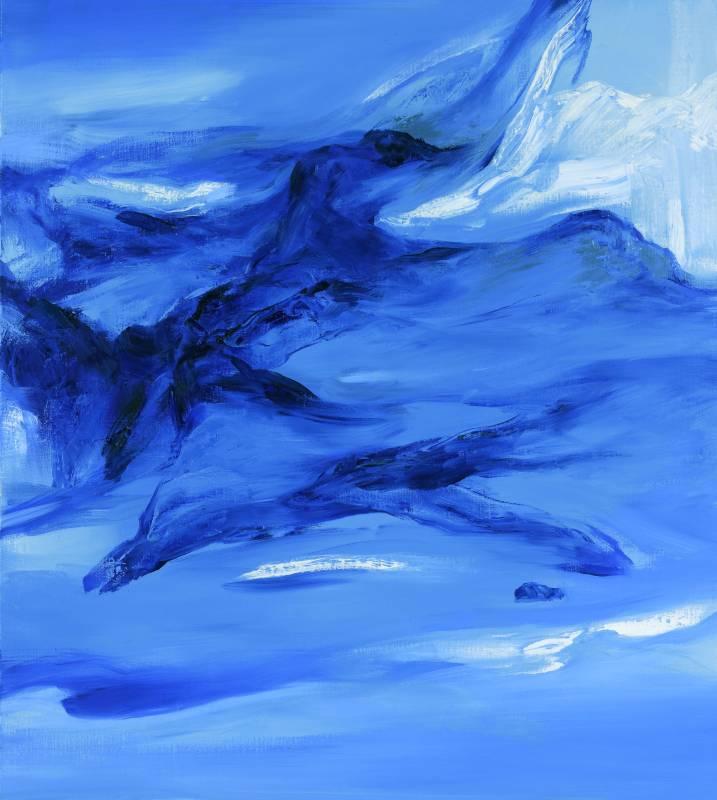 塵三 Chen San / 冰流 Ice Flow 油畫 Oil on Canvas  100x90 cm  2020