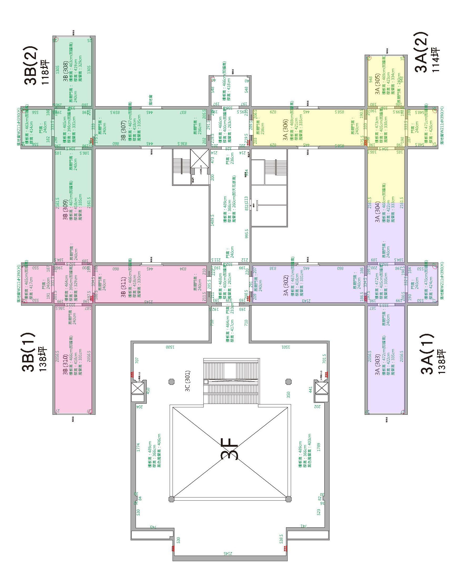 本年度申請展展場平面圖(三樓3A(1)、3A(2)、3B(1)、3B(2)) 獲選展覽由本館於同一檔期,擇一場地展出。