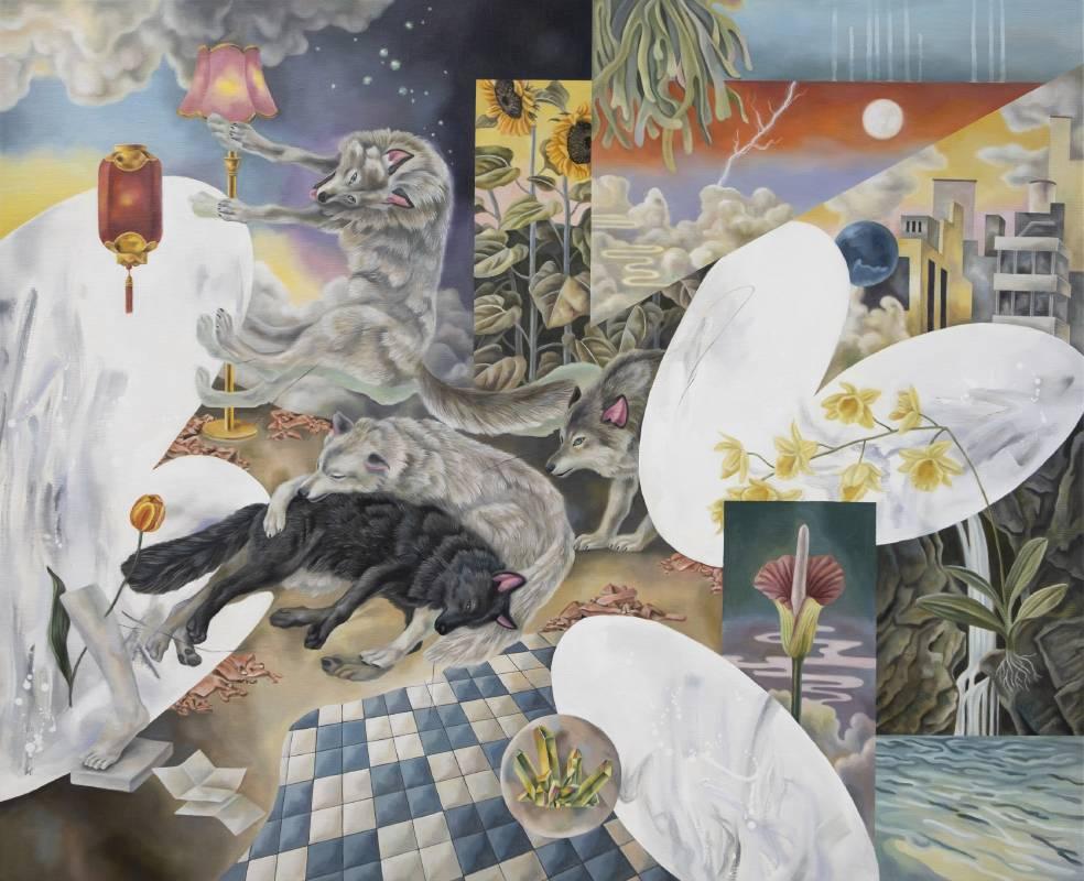 歐靜雲,〈風景畫的盡頭是一座虛構的荒原-螢星 〉,油彩、畫布,2021,90 x 110 cm