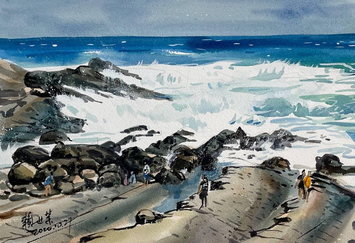 賴世榮,《小野柳》,2020,27.2 x 39.5 cm,水彩