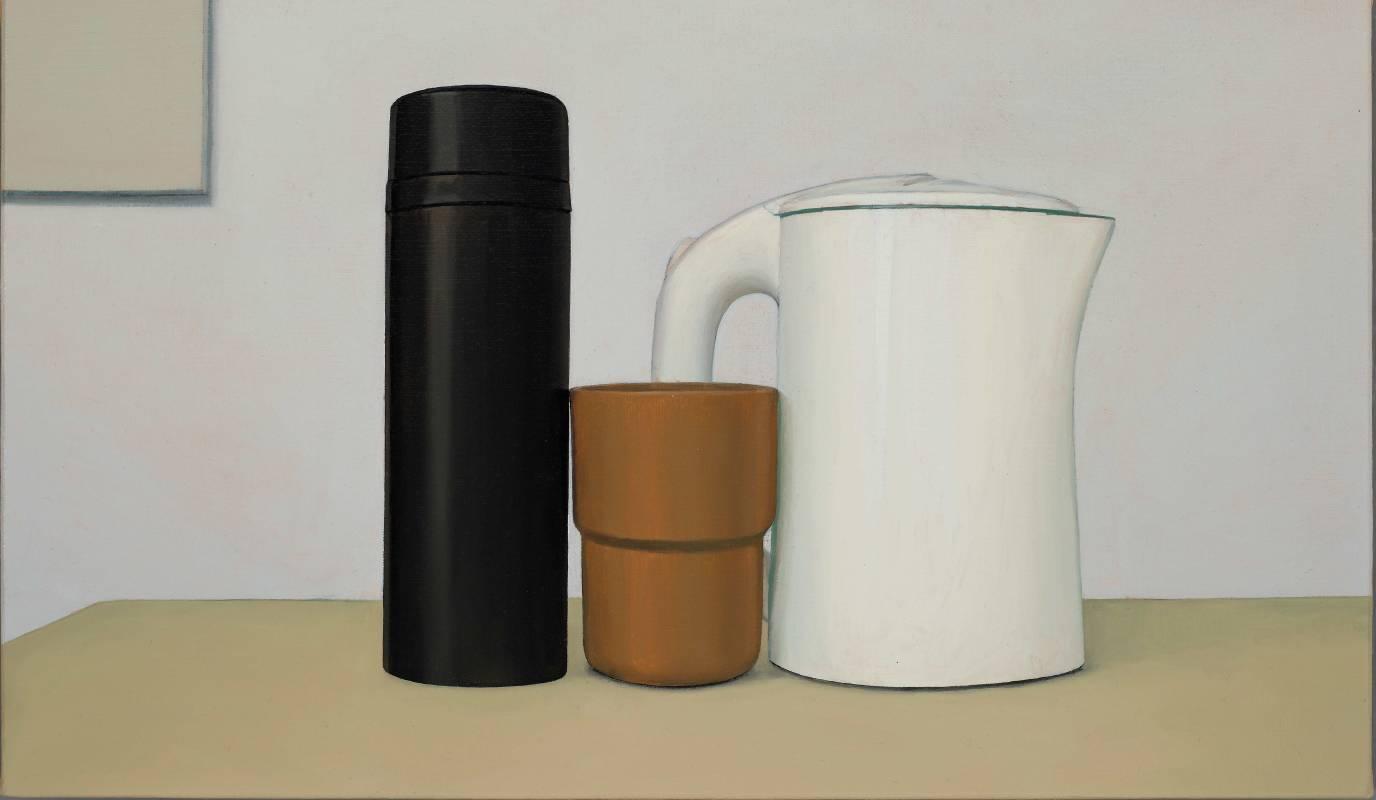 左上角有方形的靜物 , 油彩、麻, 242x410mm, 2020