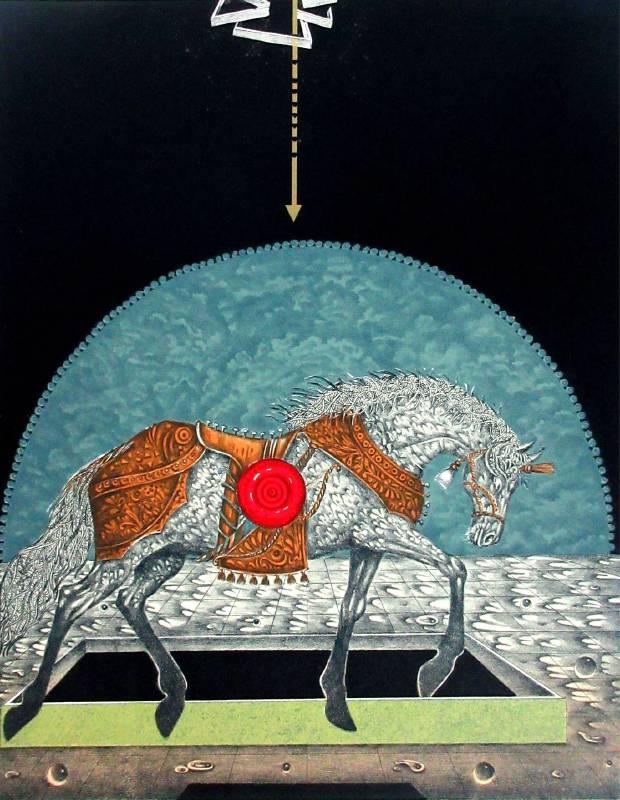 Kamruzzaman Sagar《格鬥士》蝕刻版畫 45.72x58.42cm