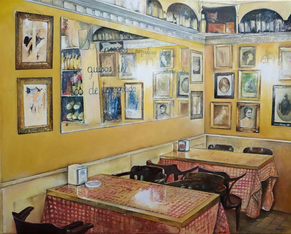 Tomas Castano《餐廳》油畫 92x73cm