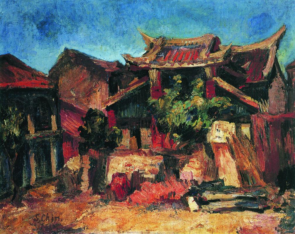 陳植棋,〈真人廟〉,1930,油彩、畫布,80 × 100公分。家屬收藏。